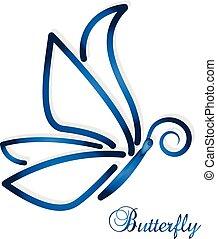 blu, farfalla, astratto, vettore