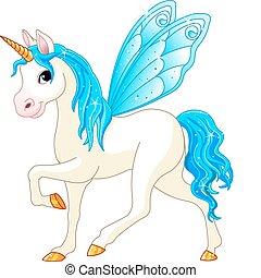 blu, fata, coda, cavallo