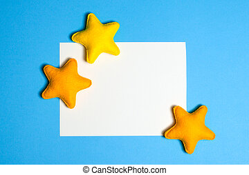 blu, fatto, cornice, copyspace., astratto, feltro, cielo, giallo, mano, toys., mestiere, stelle, sky.
