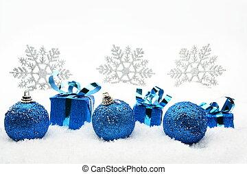 blu, fiocchi neve, neve, regali, baubles natale