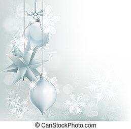 blu, fiocco di neve, fronzolo, argento, fondo, natale