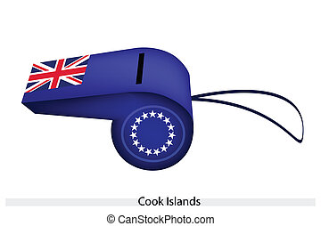 blu, fischio, bandiera, cucini isole