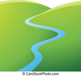 blu, fiume, colline verdi