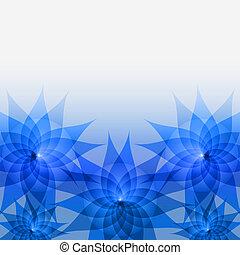 blu, floreale, astratto, fiori, fondo