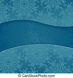 blu, floreale, fondo