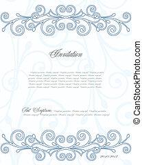 blu, floreale, vettore, fondo, design.