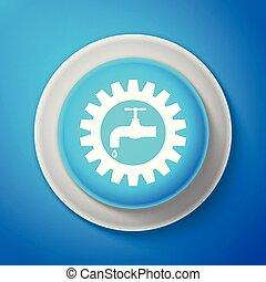 blu, fondo., bottone, isolato, illustrazione, linea., vettore, cerchio bianco, icona