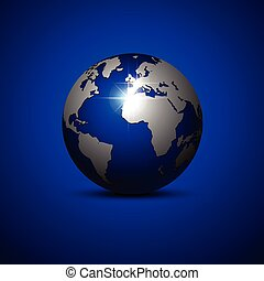 blu, fondo., globo, vettore, illustration.