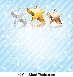 blu, fondo., vettore, bronzo, stelle, argento, dorato