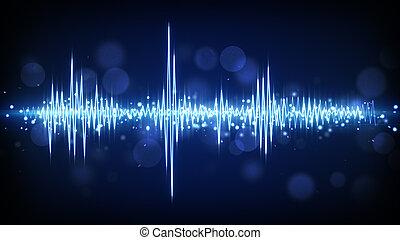 blu, forma onda, audio, fondo