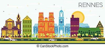 blu, francia, colorare, orizzonte, rennes, sky., città, costruzioni