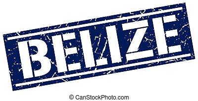 blu, francobollo, belize, quadrato
