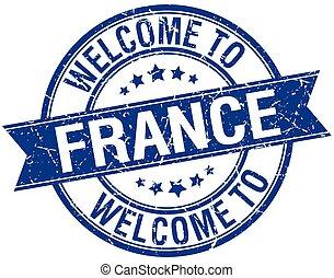 blu, francobollo, benvenuto, francia, rotondo, nastro