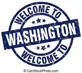 blu, francobollo, benvenuto, washington
