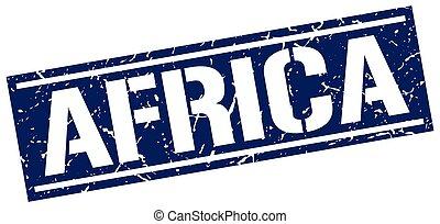 blu, francobollo, quadrato, africa