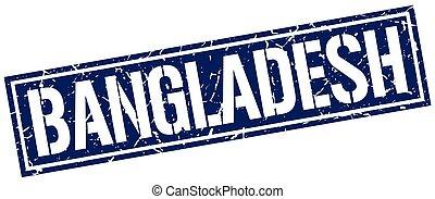 blu, francobollo, quadrato, bangladesh