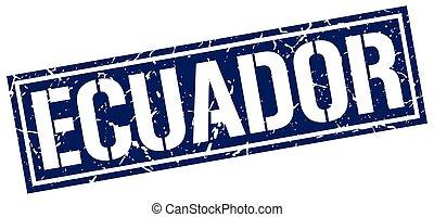 blu, francobollo, quadrato, ecuador