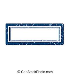 blu, francobollo, quadrato, vuoto