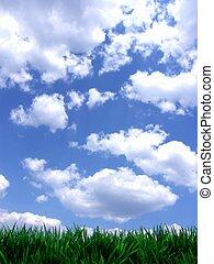 blu, fresco, cielo, verde, gras
