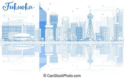 blu, fukuoka, contorno, limiti, orizzonte, reflections.
