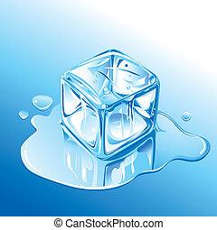 blu, fusione, cubo, ghiaccio