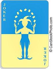 blu, giallo, burlone, disegno, carta da gioco