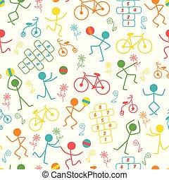 blu, gioco, bambini, modello, giallo, vettore, verde rosso, arancia, bambini, ripetere