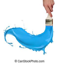 blu, gli spruzzi, isolato, vernice, fondo, brush., bianco fuori
