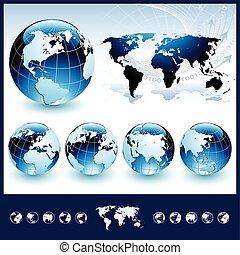 blu, globi, mappa mondo
