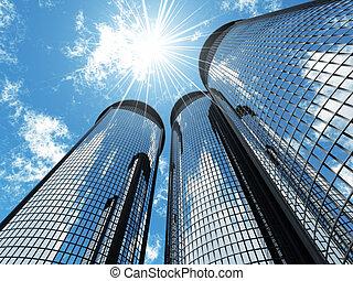 blu, grattacieli, luce, moderno, cielo, fondo, alto, solare, pezze