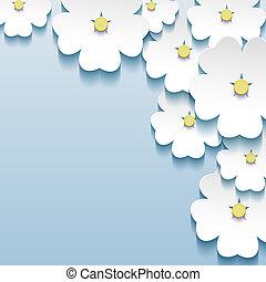 blu, grigio, astratto, -, fondo, sakura, floreale, fiori, 3d