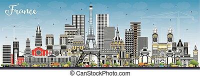blu, grigio, costruzioni, sky., benvenuto, francia, orizzonte