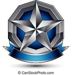 blu, grigio, emblema, classico, distintivo, chiaro, isolato, eps, fondo., aristocratico, vettore, 8., bianco, stella, argento, nastro