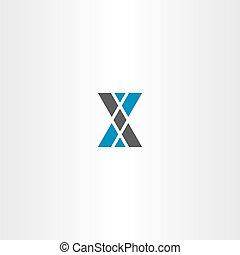 blu, grigio, triangolo, lettera, logotipo, x