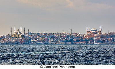 blu, hagia, istanbul, locali, topkapi, palace., moschea, popolare, sophia