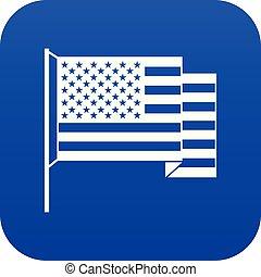 blu, icona americana, bandiera, digitale