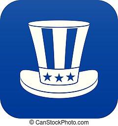 blu, icona americana, cappello, digitale