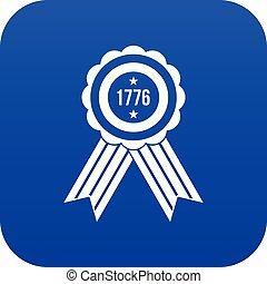blu, icona americana, emblema, digitale