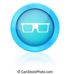 blu, icona, baluginante, riflessione, occhiali