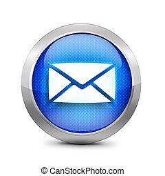blu, icona, email, segno