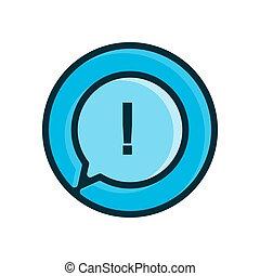 blu, icona, vettore, sfondo bianco, illustrazione, isolato, punto esclamativo