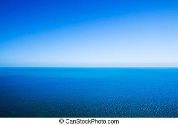 blu, idilliaco, orizzonte, cielo, astratto, -, calma, fondo, fra, linea, chiaro, mare