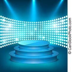 blu, illuminato, festivo, luci punto, podio, baluginante, palcoscenico