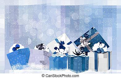 blu, illustration., regalo, snowflakes., scatole, vettore, fondo, natale