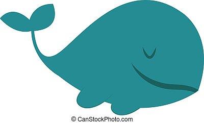 blu, illustrazione, grande, fondo., vettore, balena, bianco
