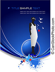 blu, image., astratto, illustrazione, vettore, fondo, ragazza
