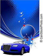 blu, image., automobile, astratto, illustrazione, vettore, fondo