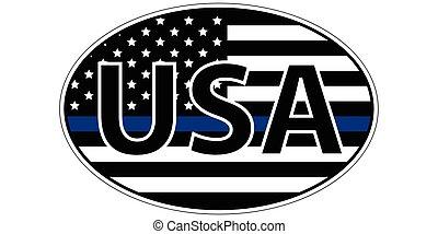 blu, imposizione, polizia, adesivo, simbolico, bandiera, striscia