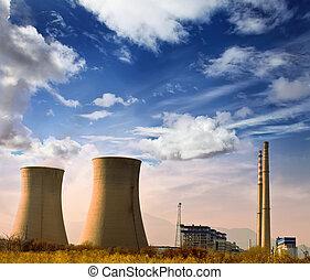 blu, industriale, potere, zona, foto, cielo, fabbrica, camini, rurial, paesaggio