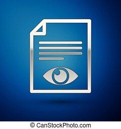 blu, informazioni, occhio, simbolo, isolato, illustrazione, argento, carta, fondo., vettore, file, segno., aperto, icona pagina